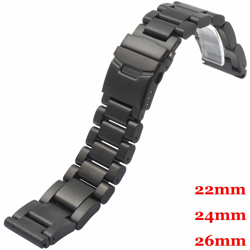 High Quality Black Solid Stainless Steel Watch Band 22mm 24mm 26mm Strap  Replacement Fold Over Clasp