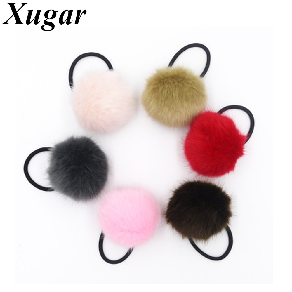 Pretty Girls Artificial Rabbit Pompom Elastic Hair Band For Ponytail Holder Women Furry Hairband Hair Accessories gorgeous faux feather elastic hair band for women