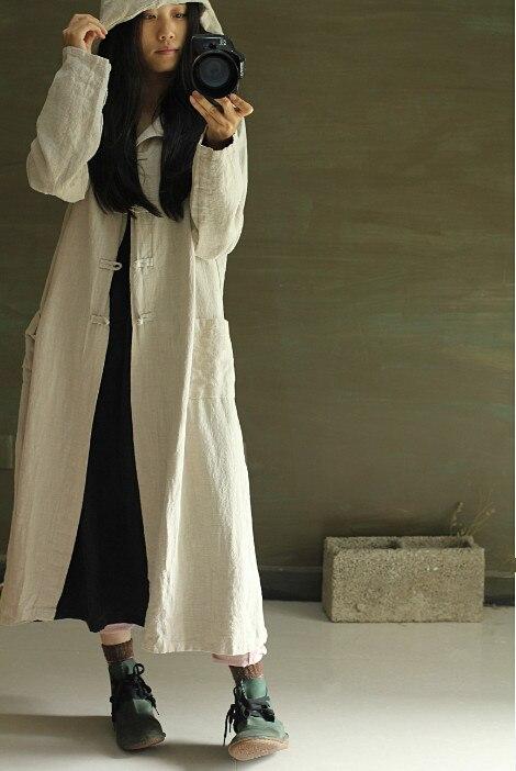 Bleu Occasionnel Élégant Outwear 2015 rouge Capuche Décontracté Long Lin Lâche Taille Linge Cardigan Plus Manteau Automne Femmes La Coton Trench gris qSawFzqU