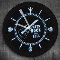 Rock n Roll Neon Effect Wall Clock Music Studio Room Pub Bar Wall Art Rocking Guitar LED Lighted Wall Watch Luminous Wall Clock