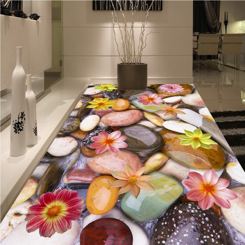 Free Shipping 3d pebble lotus floor painting flooring wallpaper mural bathroom living room bedroom kitchen home decoration free shipping marble texture parquet flooring 3d floor home decoration self adhesive mural baby room bedroom wallpaper mural