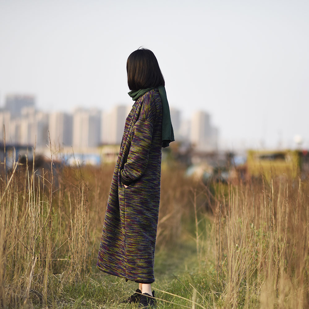 Kadın Giyim'ten Hırkalar'de YoYiKamomo Kadın Kazak 2018 örme hırka Sonbahar Kış Hırka Uzun Kollu Vintage Kazak Gevşek Rahat Sıcak Uzun Ceket'da  Grup 3