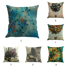 2019 Brand New Butterfly Painting Pillowcase Square Flax  pillow Cushion Bed Pillow Cover Pillowcase high quality