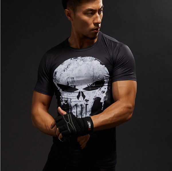 Hot Sale 3D Printed Marvel Punisher Skull T-shirt Men Summer Fashion Short Sleeve Tshirt G Ym Compression Men T Shirt Tops&Tees