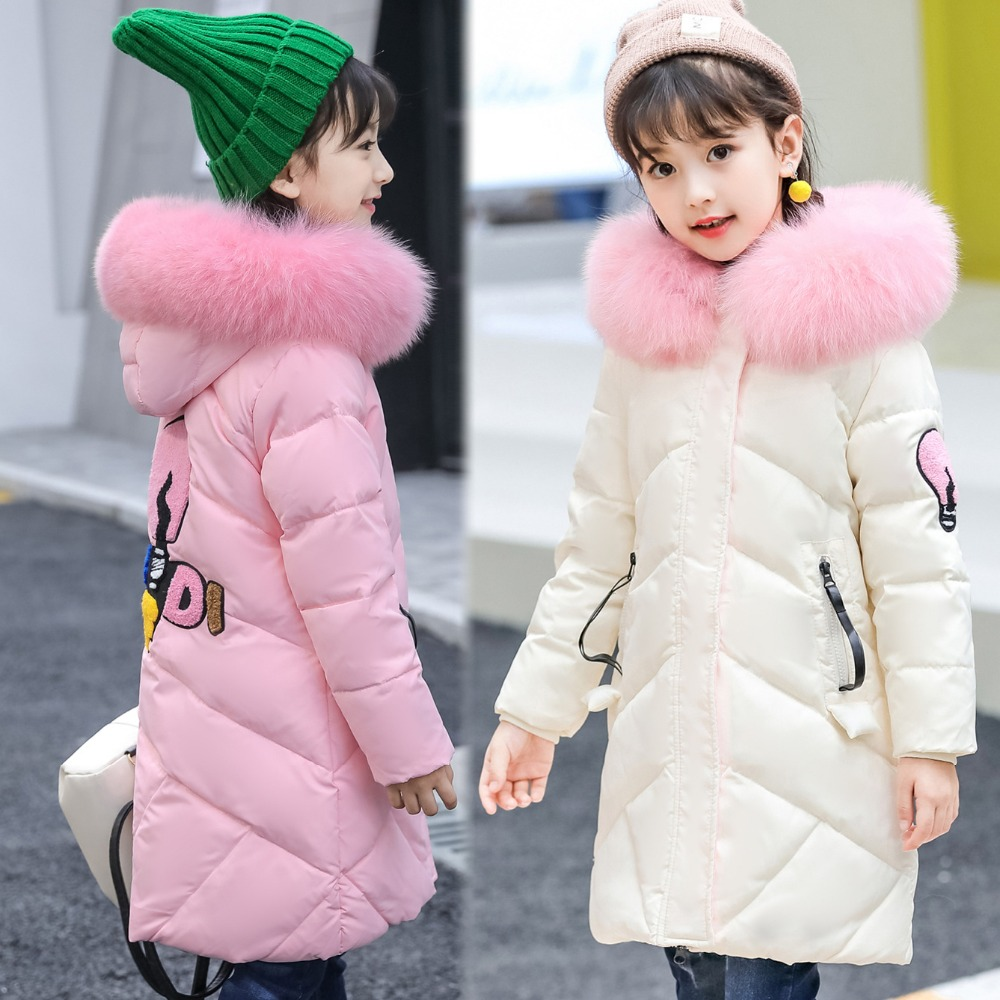 Kids Long Parkas For Girls Fur Hooded Coat Children Outerwear Winter Warm Duck Down Jacket Overcoat Girls Snowsuit TZ217 jacket girl casual children parka winter coat duck long section down thick fur hooded kids winter jacket for girls outerwear