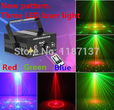 SUNY 3 Lens 18 Patterns Club Bar RGB Laser BLUE LED Stage Lighting DJ Home Party 300mw show Professional Projector Light Disco mini rgb led party disco club dj light crystal magic ball effect stage lighting