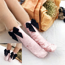 Women Velvet Socks Ribbon Wire After The Heel Big Bow Winter Short Socks Chaussette Female Herring Ankle Socks meias chausette(China)