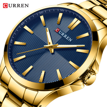 CURREN Men Watches Luxury Brand Gold Stainless Steel Band Luxury Quartz Watch Mens Waterproof Business Man Relogio Masculino недорого