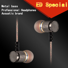 Fone De Ouvido KZ ED2 Special Edition Earphone Gold Plated Housing Double Magnets Drivers 3.5MM Stereo Headset DJ Bass Earphones