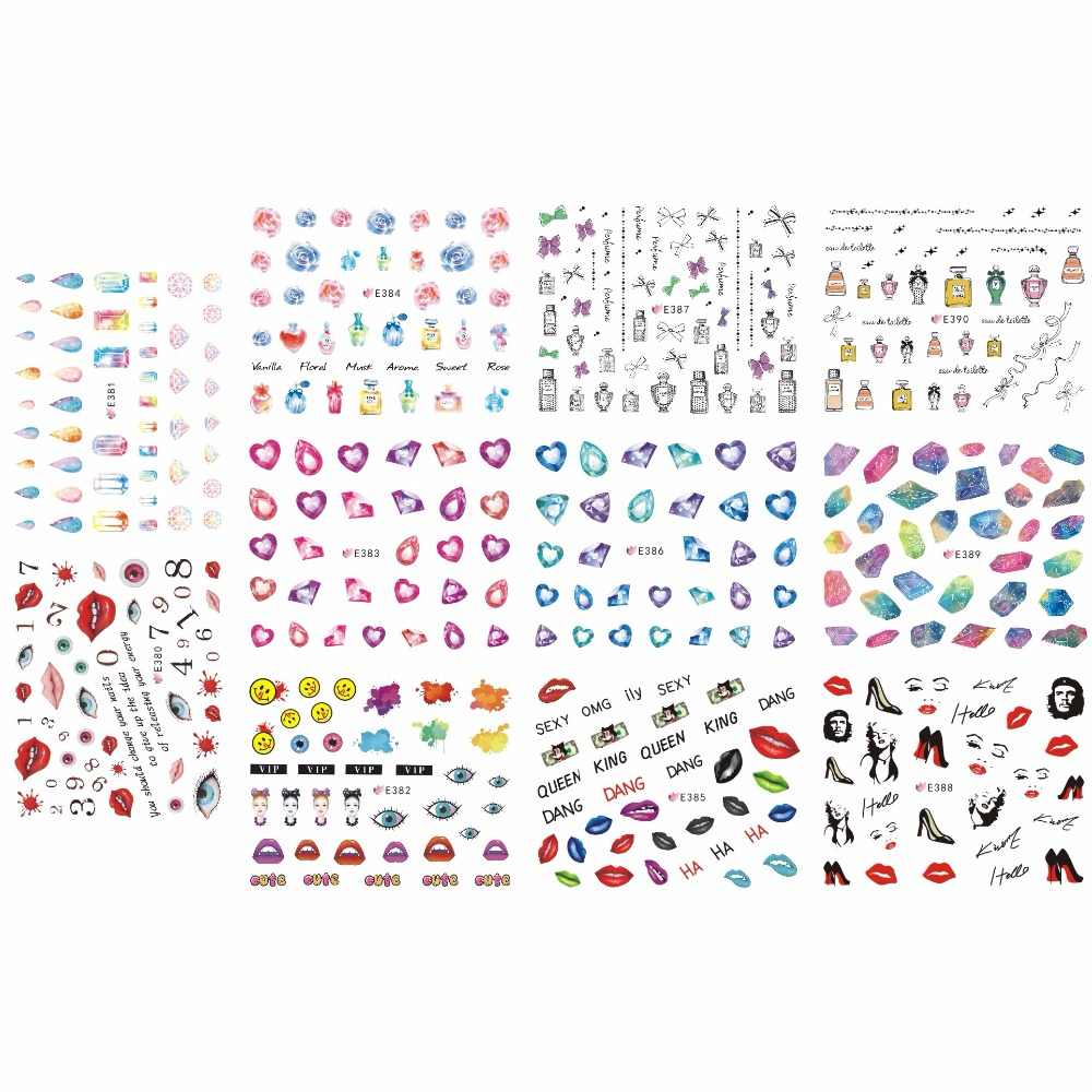 11 PCS   LOT SIMULATION SELF-ADHESIVE 3D NAIL TATTOOS STICKER GEM STONE  LIPS KISS eda571a091ac