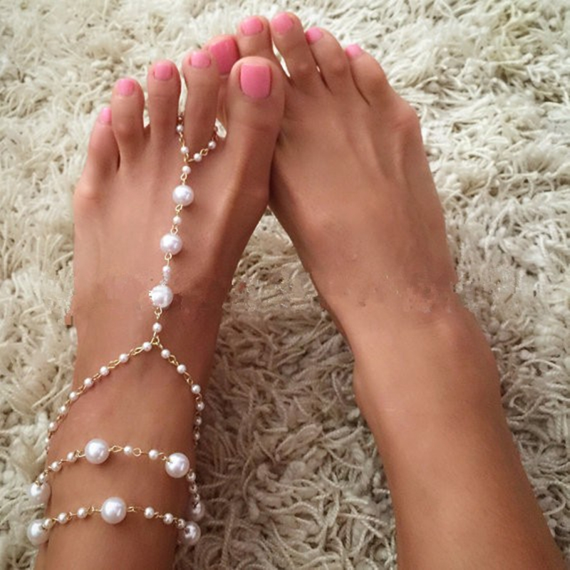 AE CANFLY 1 PC Bridal Barefoot Sandals Pearl Multi Layer Anklet