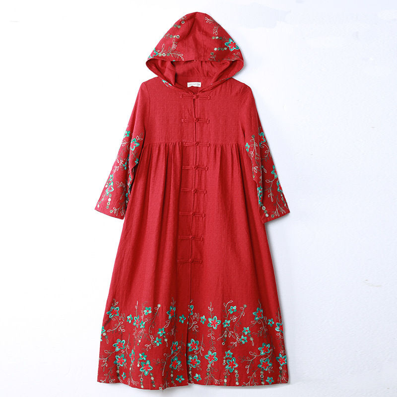 Johnature 2018 Winter New Vintage Hooded   Trench   Embroidery Floral Coat Button High Quality Long Sleeve Chinese Style   Trench   Coat