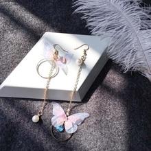 Корейские женские серьги в виде крыльев бабочки с длинной кисточкой, ювелирные изделия с искусственным жемчугом и кристаллами, асимметричные массивные серьги-капли