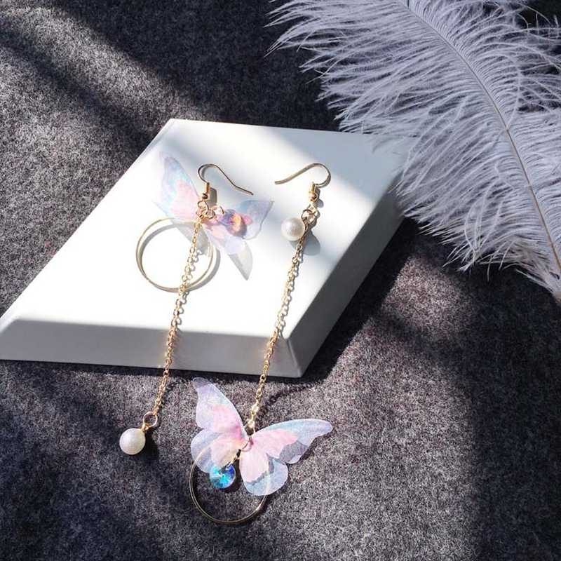 Korean Butterfly Angle Wings Long Tassel Earrings For Women Jewelry Imitation Pearl Crystal Asymmetric Statement Drop Earrings