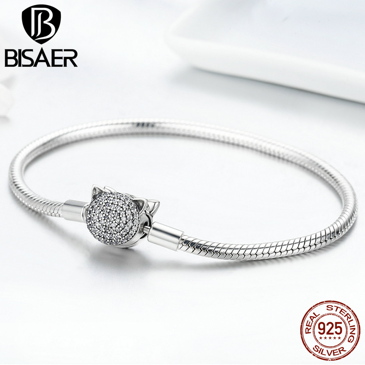 BISAER Real 925 Sterling Silver Snake Chain Cat Bracelets & Bangles Pussy Cat Clasp Femme Women Bracelets Fine Jewelry GXB053 wiggle and giggle pussy cat pussy cat what can you see