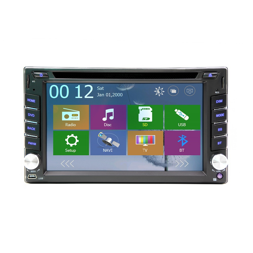 <font><b>6.2</b></font> <font><b>inch</b></font> wince 6.0 Car DVD <font><b>GPS</b></font> Navigation <font><b>2DIN</b></font> Car Stereo Radio Car <font><b>GPS</b></font> Bluetooth USB/SD Universal Player+ free 8G MAP image