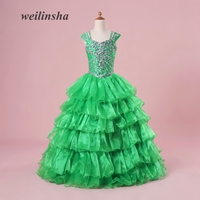 weilinsha Green Ball Gown Kids Pageant Gown Flower Girl Dresses 2018 New Arrival Organza Child Formal Gowns Wear