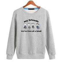 Loose Fit Friend Sweatshirt Men Cotton Women Hoodies 2018 Autumn New Letters Cartoon Print Crew Neck Boys Tops Men Clothing