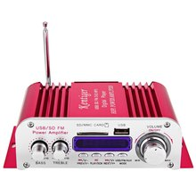 Car Amplifier Hi-Fi Digital Auto Stereo Power Amplifiers Sound Mode Audio Music Player USB MP3 DVD SD MMC FM Red No Power Plug