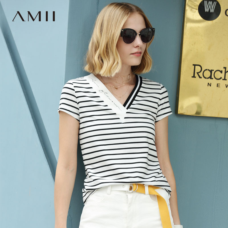 Amii Women Minimalist 2018 Summer T-Shirt Striped V Neck Short Sleeve Female Tee Tops