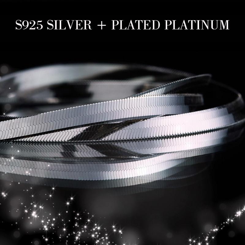 925 Sterling zilveren heren ketting platte dunne slangenketting 3-4 - Fijne sieraden - Foto 3