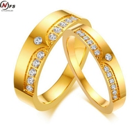 NFS 1 çifti Klasik Altın Renk 6mm Titanyum Çelik Erkekler & kadın Çiftler Için Severler Evlilik Düğün Band Yüzük Set Ile CZ
