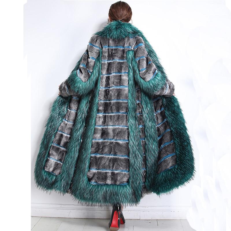 Nerazzurri Femmes d'hiver de mode 2018 de luxe piste faux manteau de fourrure couleur bloc furry chaud faux vison pardessus plus la taille 5xl