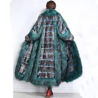 Nerazzurri Womens winter fashion 2018 luxury runway faux fur coat color block fluffy furry warm fake mink overcoat plus size 5xl