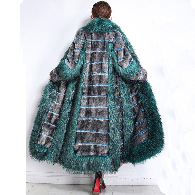 Nerazzurri femmes hiver mode 2019 luxe piste fausse fourrure manteau couleur bloc moelleux fourrure chaud faux vison pardessus grande taille 5xl