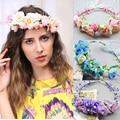 2016 New Women Girl Wedding Rose Flower Wreath Headband Hair Jewelry Party Floral Garlands Tiaras Crowns Ribbon Belt Headpiece