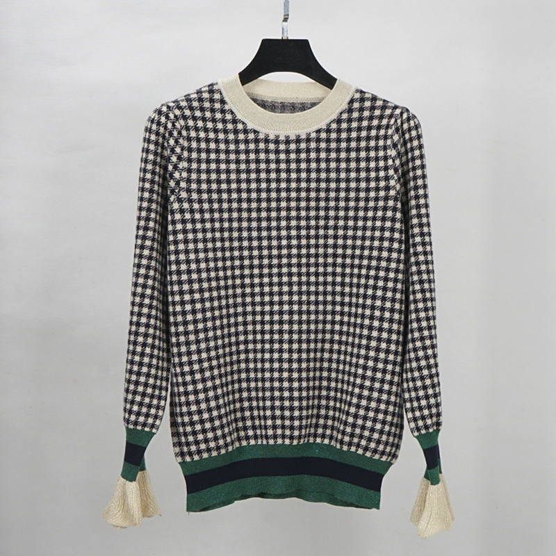 Plaid pull en laine pull pulls pull femmes 2018 automne hiver nouveau chaud flare manches pulls