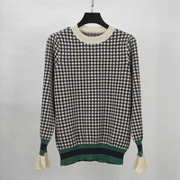 plaid sweater check wool sweater pullovers jumper women 2018 fall winter new warm flare sleeve sweaters
