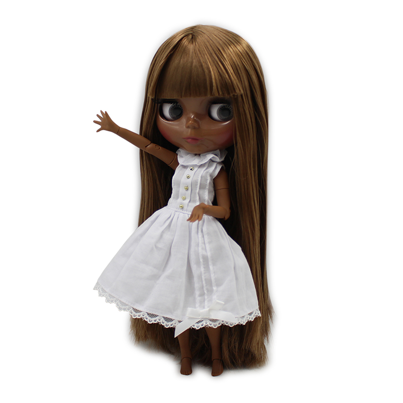 factory blyth doll super black skin tone darkest skin 280BL0444 brown hair with bangs joint body 1/6 30cm fortune days factory blyth doll super black skin tone darkest skin dark brown hair joint body 1 6 30cm bl0521