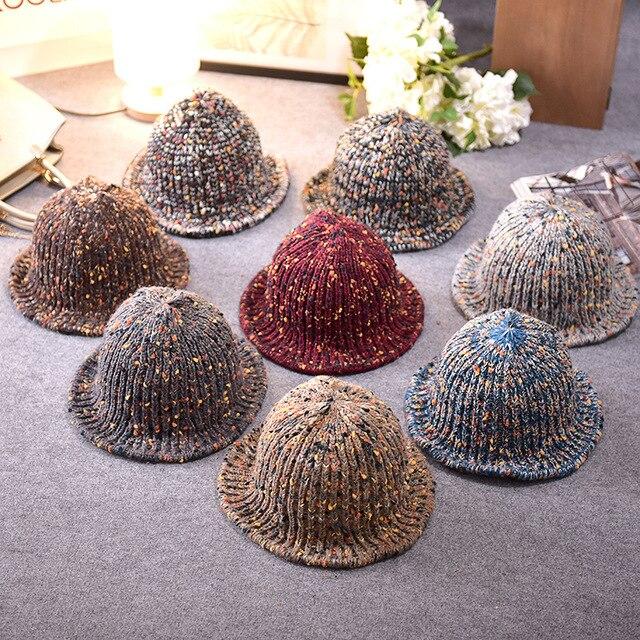 Autumn and winter ladies hat color knit hat Korean tide warm wool hat leisure folding fisherman hat wholesale