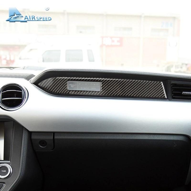Airspeed fibre de carbone voiture tableau de bord décoration bande autocollant côté siège passager pour Ford Mustang 2015 2016 2017 accessoires