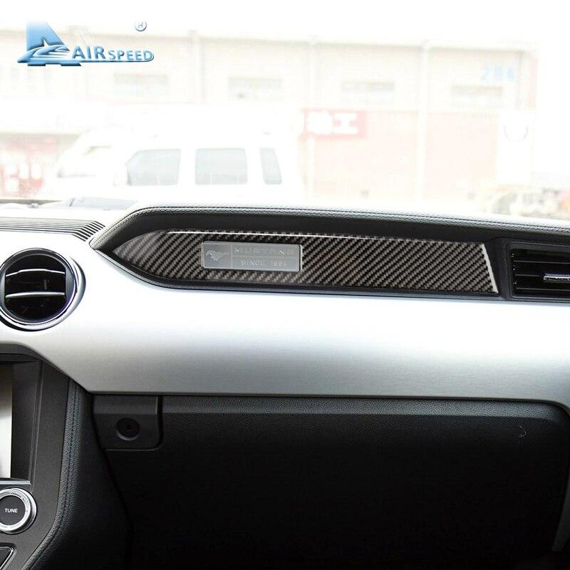 Fluggeschwindigkeit Carbon Fiber car Dashboard Dekoration Streifen Aufkleber passagier sitz seite für Ford Mustang 2015 2016 2017 Zubehör