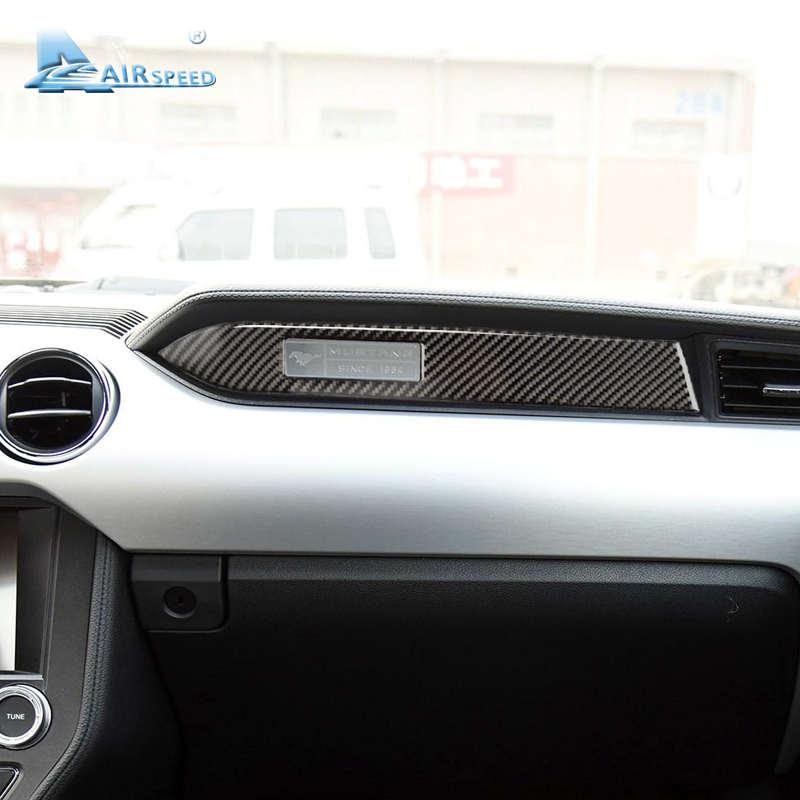 Velocidad de fibra de carbono del tablero de instrumentos del coche decoración de etiqueta engomada del asiento del pasajero lado 2015 Ford Mustang 2016, 2017