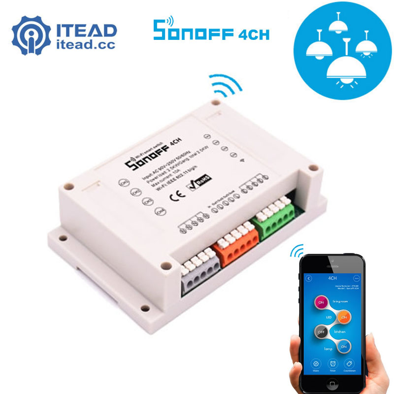 ITEAD Sonoff 4CH - 4Gang Din Rail Mounting Wireless Control WIFI Smart Switch intellige Home Light Remote Snoff 10A/2200W Alexa itead sonoff wifi remote control smart light switch smart home automation intelligent wifi center smart home controls 10a 2200w