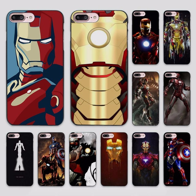 brand new 14f7a 31fd8 US $2.99 |Marvel Comics Iron Man design hard black Case Cover for Apple  iPhone 7 6 6s Plus SE 5 5s 5c 4 4s-in Half-wrapped Case from Cellphones &  ...
