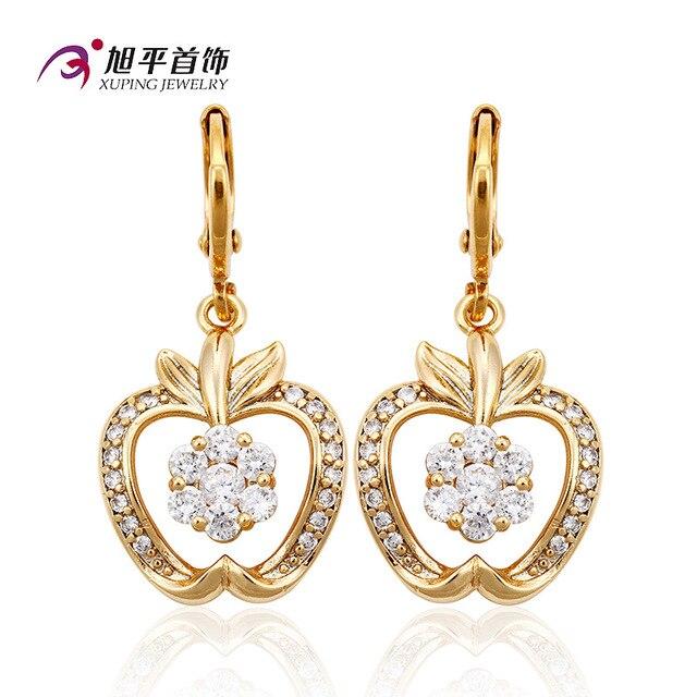 famous brand white Bohemian long cartoon apple crystal Austria party women cute girlfriend gift jewelry high-end gold earrings