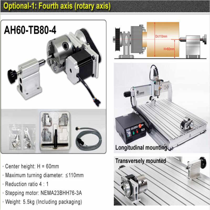 4 AXIS mini cnc router 8060 2200W spindle metal engraving cnc carving  machine with limit switch for Aluminum Copper drilling