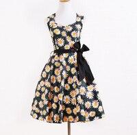Бесплатная доставка Интернет-магазинов Для женщин Милое сексуальное желтый принт дизайнер Бутик США размеры рокабилли Платья для женщин д...