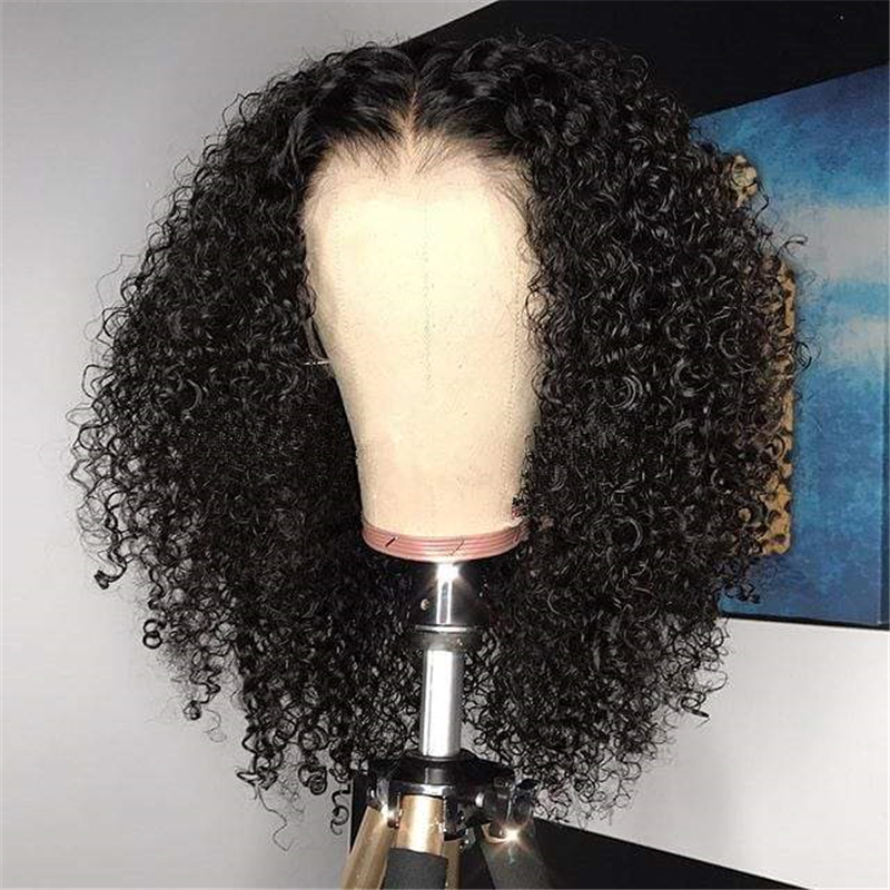 Afro Kinky Curly Human Hair Wig Lace Closure Wig Brazilian Remy Hair With Baby Hair Wigs For Black Women Hot Beauty Hair