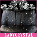 Ladycrystal Custom Leather Car Seat Covers Crystal Rhinestone Cubierta de Asiento Auto Car Styling Para Niñas Mujeres Accesorios Interiores