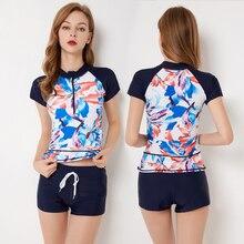 FIGOBELL 2018 One Piece Swimsuit Long Sleeve Swimwear Bathing Suit Women Print Floral One-piece Swim Suits Surfing Wear