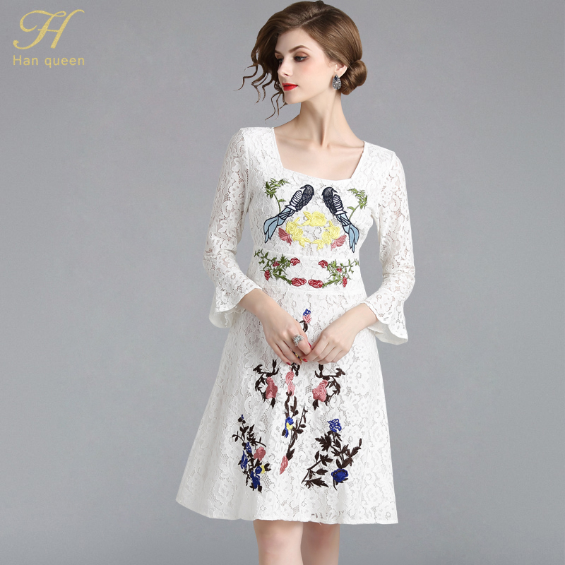H Han Queen Women 2018 Autumn Embroidery White Lace Dress Ladies Square collar stitching Vintage Female Slim Sexy Party Dresses