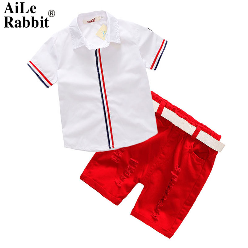 AiLe Rabbit Sommar Barnkläder Set Boys T-shirt Shorts Belt 3st Suits Bow Pants Sport Barnkläder Mode k1