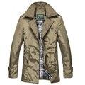 Hombres libres del envío gruesa y el algodón de Moda de color sólido gabardina larga cazadora Gira el collar abajo chaqueta de negocios 59yw