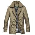 Mais grossa de algodão de Moda cor sólida dos homens livres do transporte trench coat longo negócios blusão Turn down jacket collar 59yw