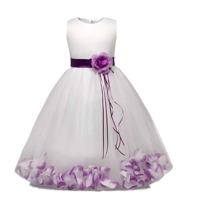 Flower Girl Dress with Flowers Ribbons for Girls Tulle Dresses Birthday Party Wedding Ceremonious Kid Girl